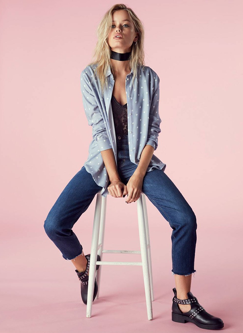 H&M Satin Choker, Viscose Shirt, Lace Bodysuit, Slim High Ankle Jeans and Cut-Out Ankle Boots