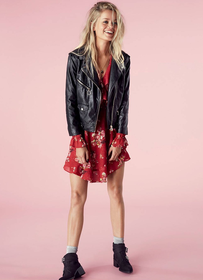 H&M Biker Jacket, Wrap Dress and Ankle Boots with Studs