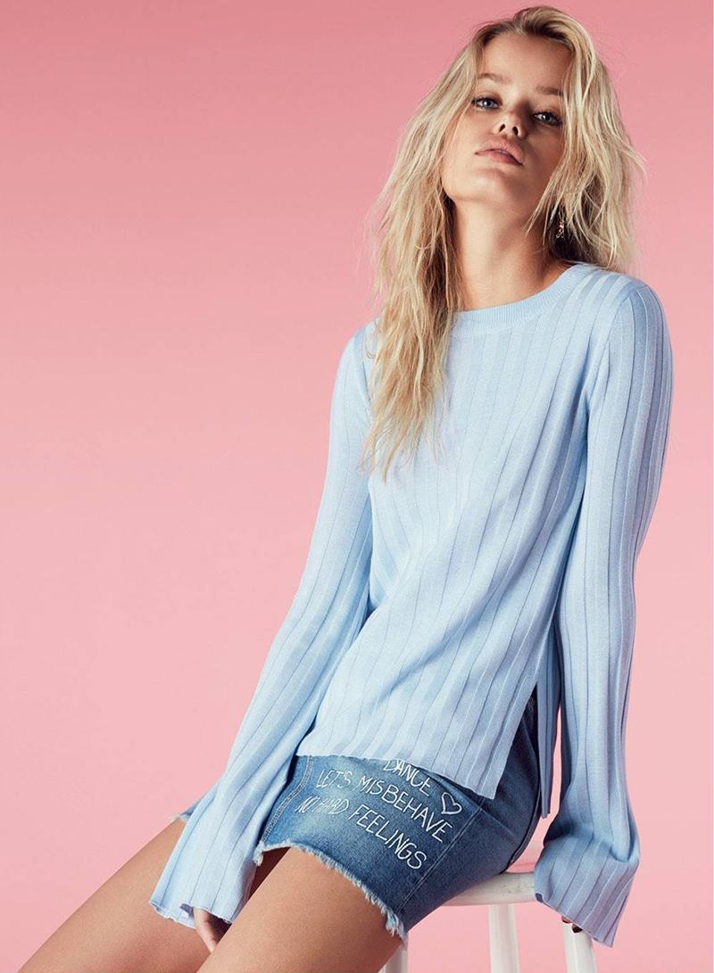 H&M Rib-Knit Sweater and Short Denim Skirt