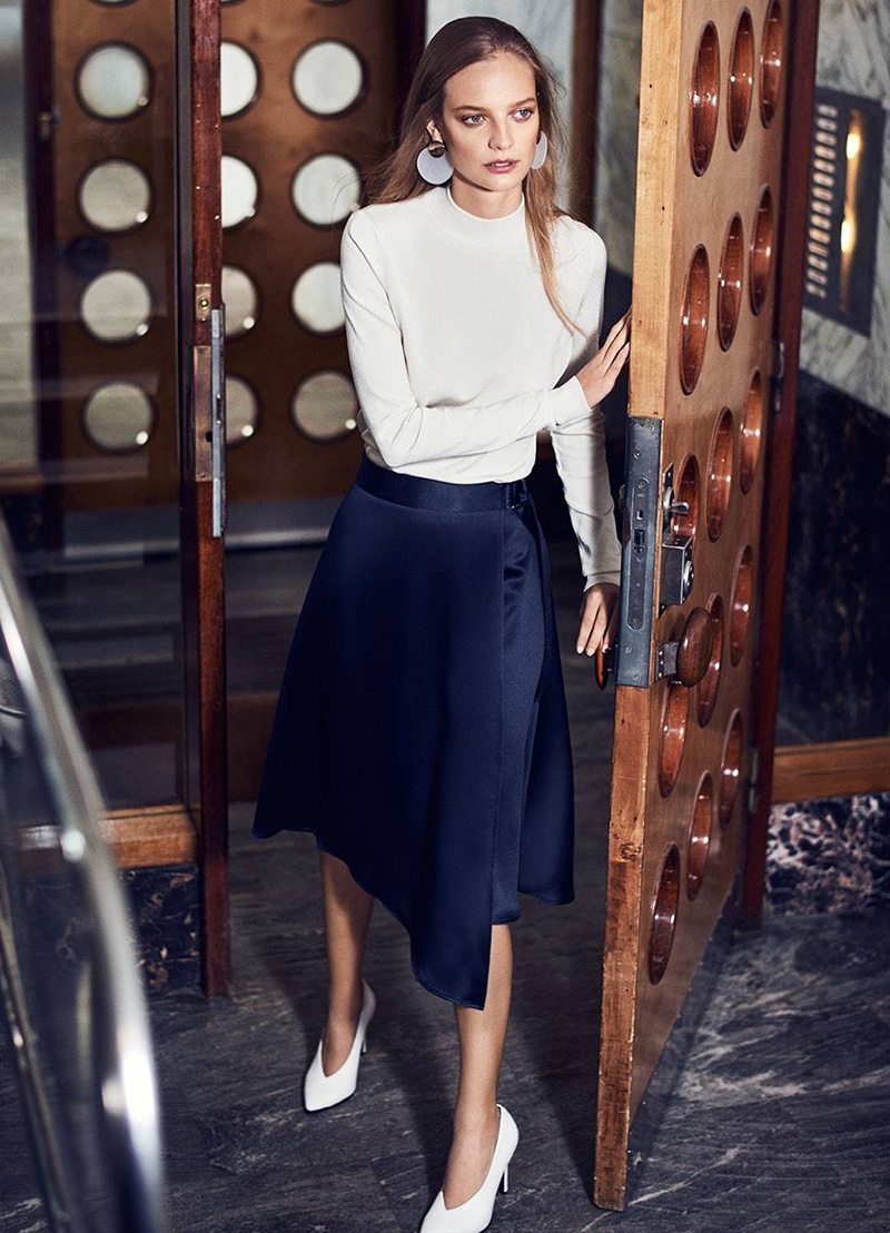 H&M Fine-Knit Turtleneck Sweater, Wrapover Satin Skirt, Large Earrings and Pumps