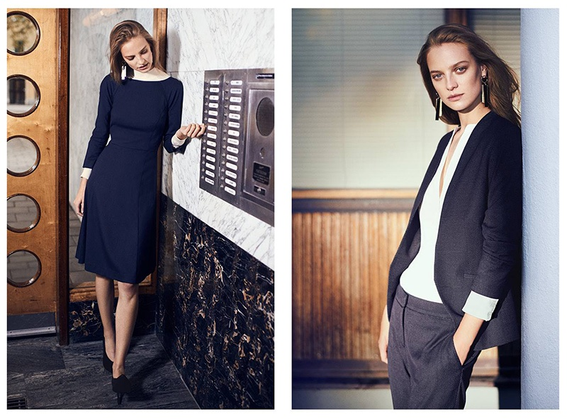 (Left) H&M Knee-Length Dress, Fine-Knit Turtleneck Sweater, Long Earrings and Pumps (Right) H&M Fitted Jacket, Silk Tunic, Suit Pants and Long Earrings