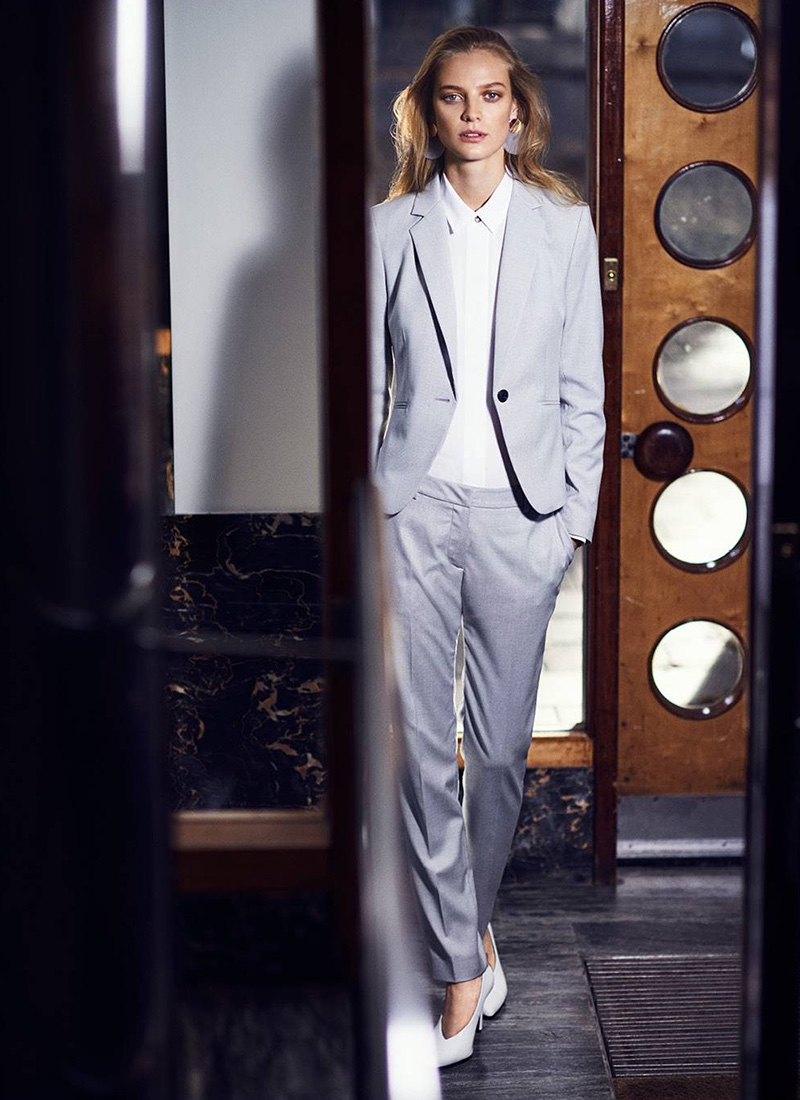 H&M Fitted Jacket, Long-Sleeved Blouse, Suit Pants, Large Earrings and Pumps