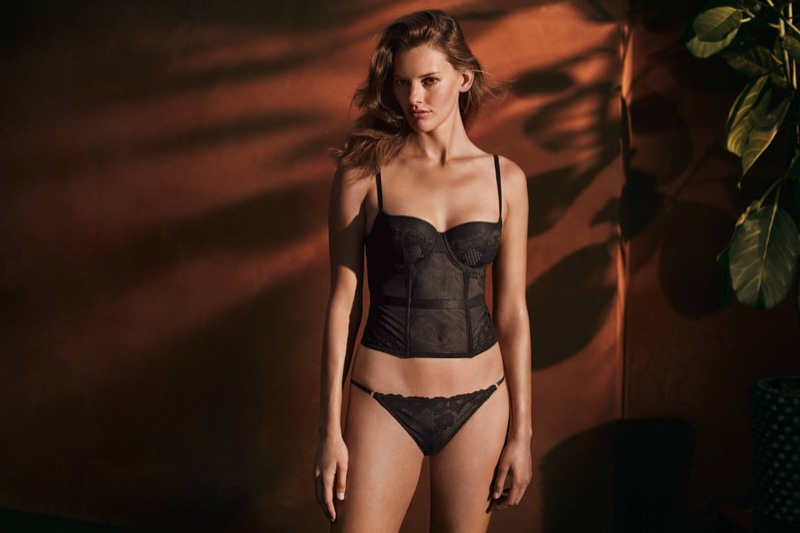 H&M Lace and Mesh Bustier and Mesh Bikini Briefs