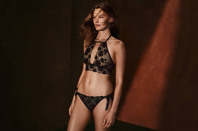 H&M Soft-Cup Lace Bra and Lace Briefs with Ties
