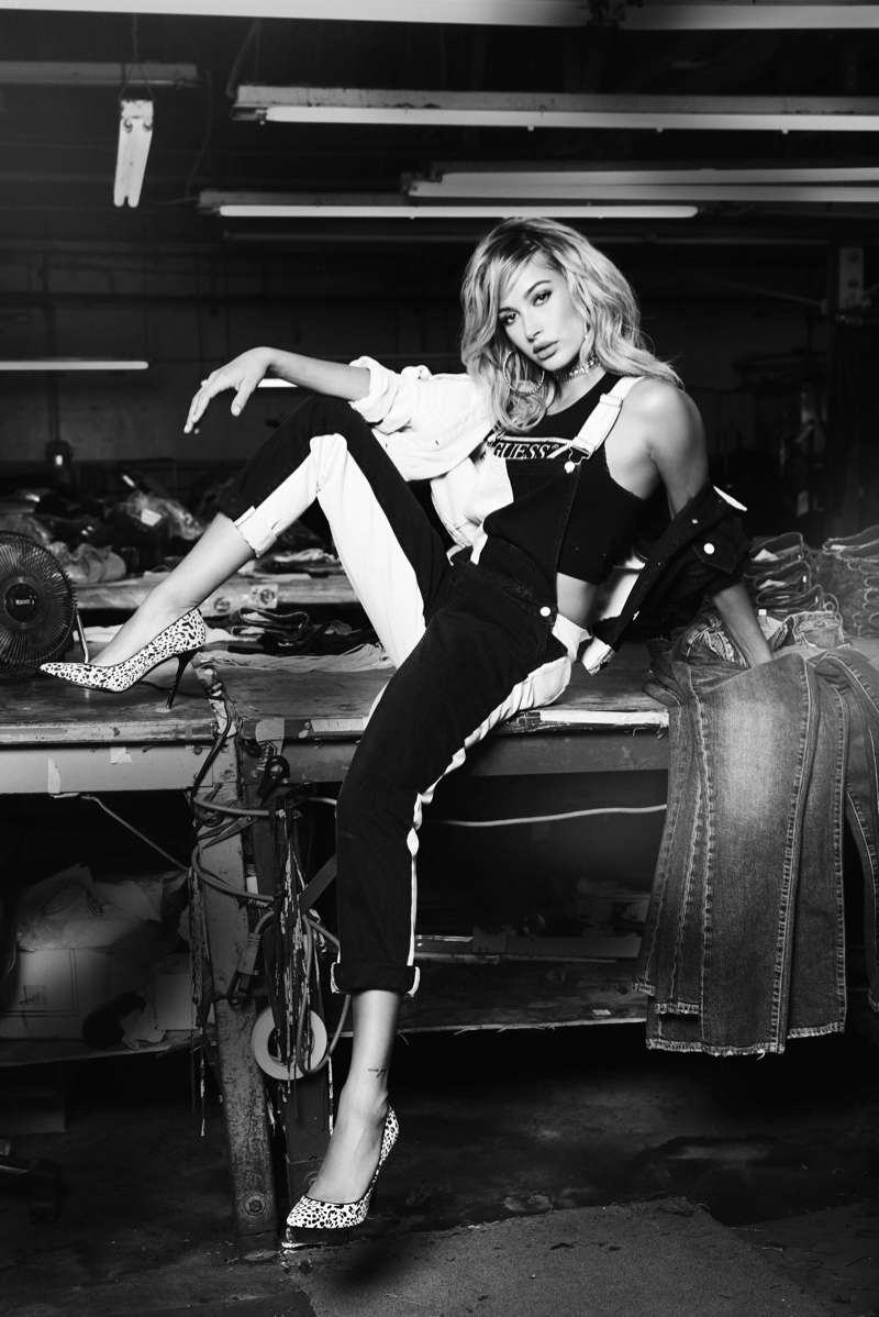 Rocking overalls, Hailey Baldwin stars in Guess campaign