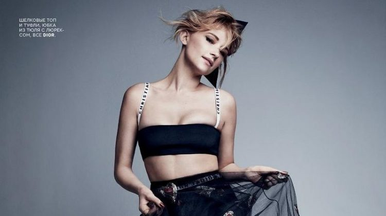 Haley Bennett poses in Dior bralette, embellished skirt and pumps