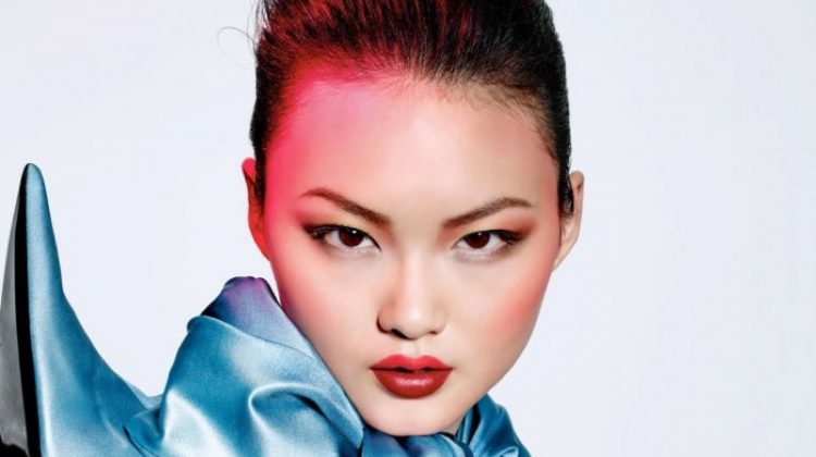 The model wears beauty looks featuring Dior Makeup
