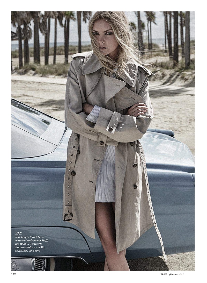 Heather Marks poses in FAY coat with Jil Sander dress shirt