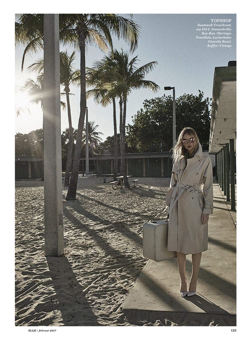 Model Heather Marks wears Topshop trench coat and Gianvito Rossi heels