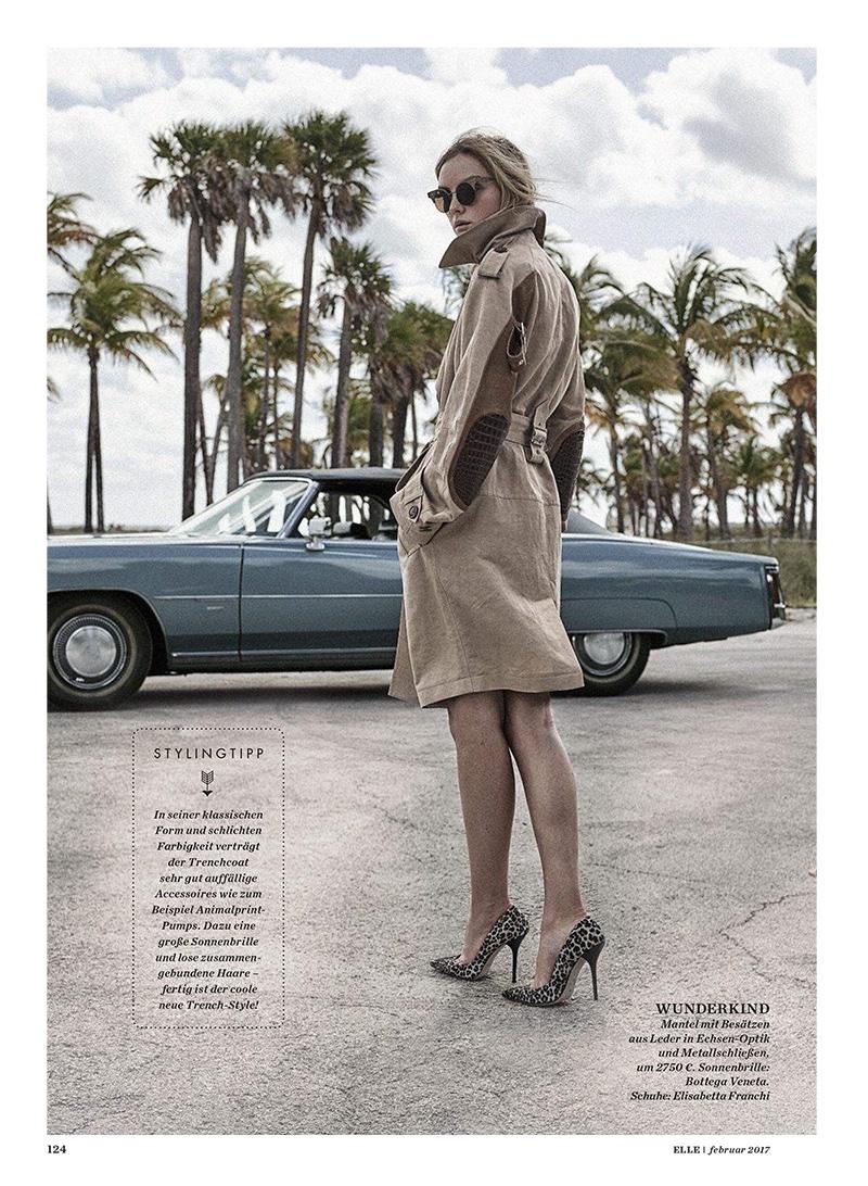 Heather Marks poses in Wunderkind coat, Bottega Veneta sunglasses and Elisabetta Franchi heels