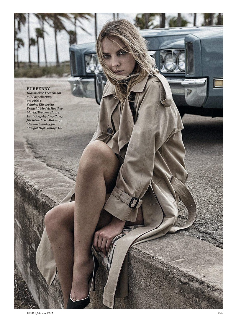 The model covers up in Burberry trench coat and Elisabetta Franchi heels