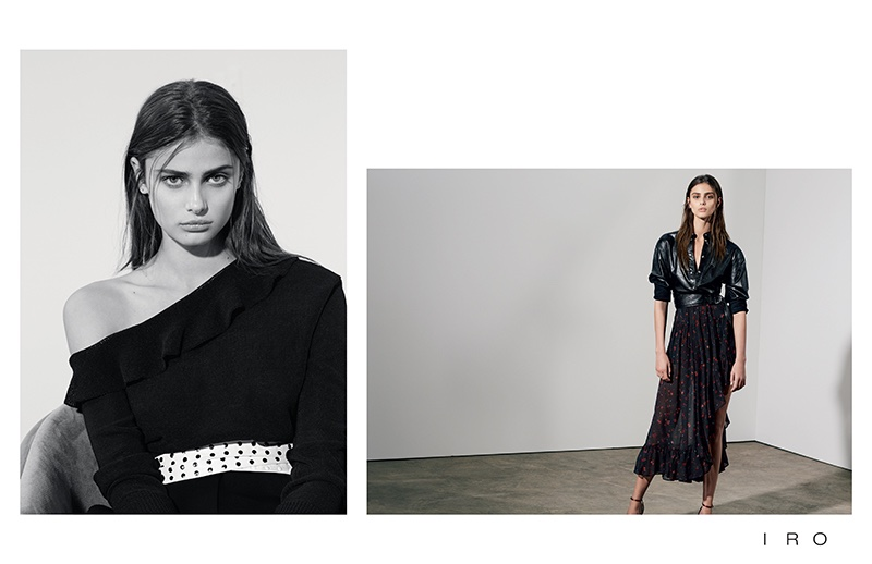 Model Taylor Hill poses in dark styles for IRO's spring 2017 campaign