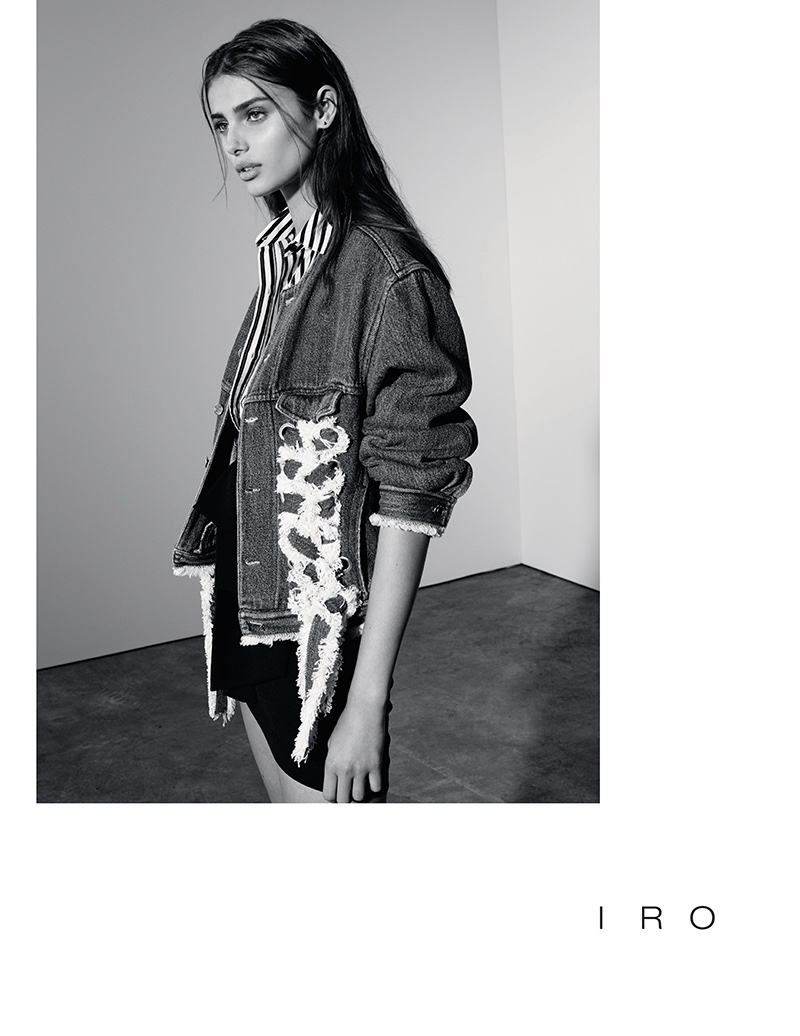 Taylor Hill models embellished denim jacket from IRO's spring 2017 collection