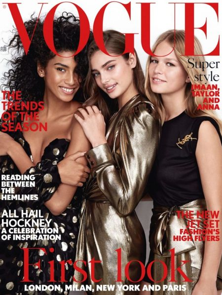 Imaan Hammam, Taylor Hill & Anna Ewers on Vogue UK February 2017 Cover