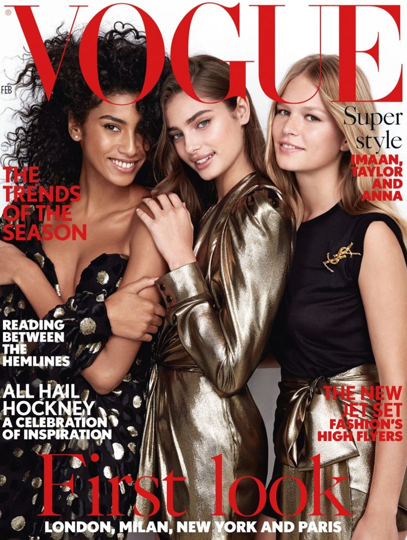 Taylor Hill, Imaan Hammam & Anna Ewers Shine on Vogue UK's February Cover (Photos)