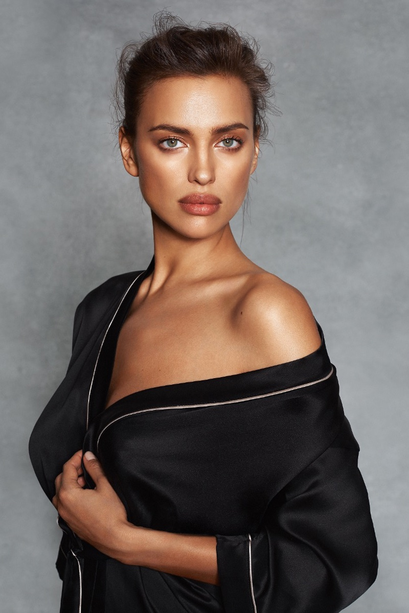 Irina Shayk wears Intimissimi satin robe