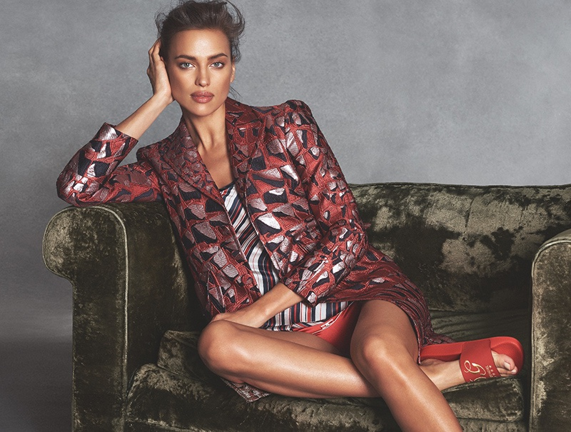 Irina Shayk models DSquared2 coat with Intimissimi t-shirt and underwear. Sandals from Dolce & Gabbana.