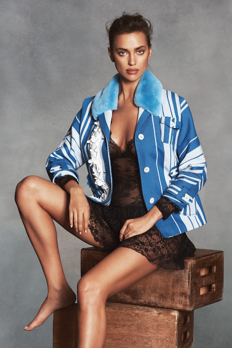Model Irina Shayk wears Intimissimi bodysuit and lace culotte. Jacket from Miu Miu.