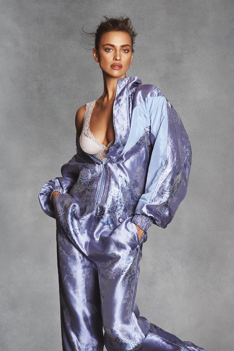 Embracing purple, Irina Shayk wears Intimissimi bra and Fenty x Puma by Rihanna jumpsuit
