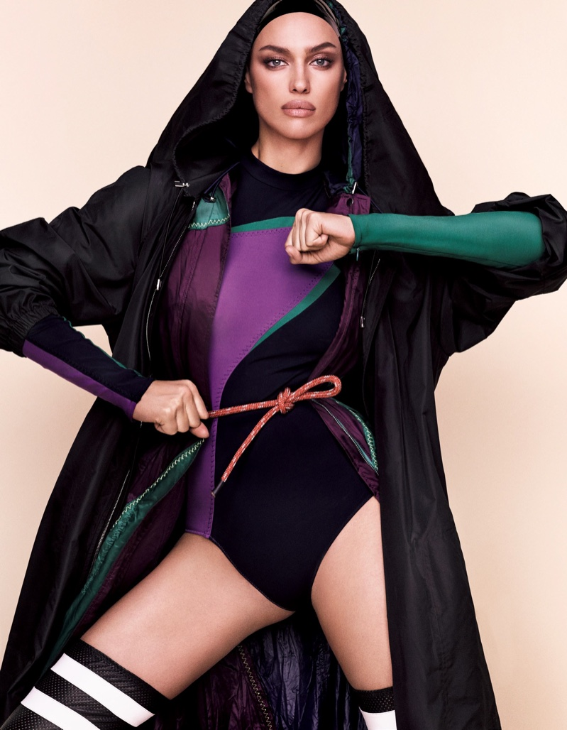 Model Irina Shayk sports a Versace color-blocked bodysuit
