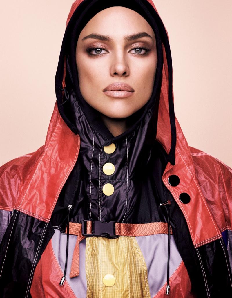 Irina Shayk gets her closeup in Prada jacket
