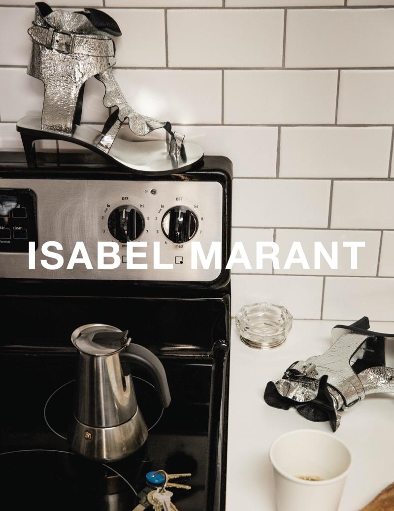 Isabel Marant spotlights metallic sandals in spring 2017 advertising campaign