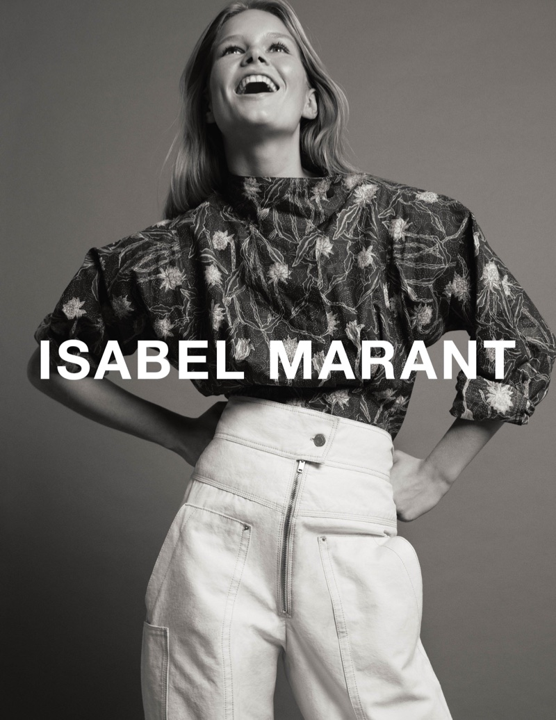 Photographed in black and white, Anna Ewers appears in Isabel Marant's spring-summer 2017 campaign