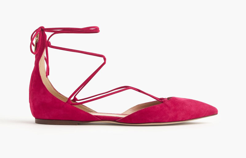 J. Crew Suede Lace-Up Pointed Toe Flats