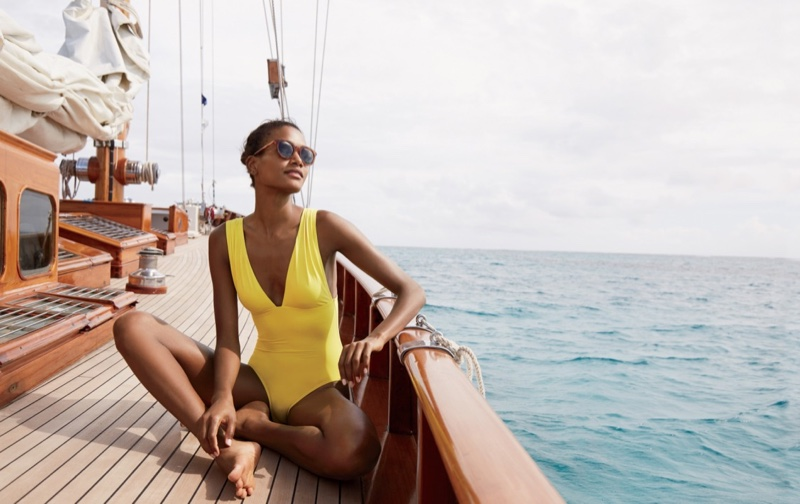 J. Crew V-Neck One-Piece Swimsuit in Italian Matte and Frankie Sunglasses