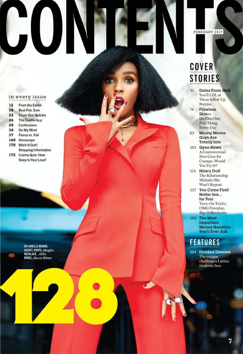 Janelle Monae suits up in Mugler jacket and pants with Alibi necklace and Alexis Bittar rings