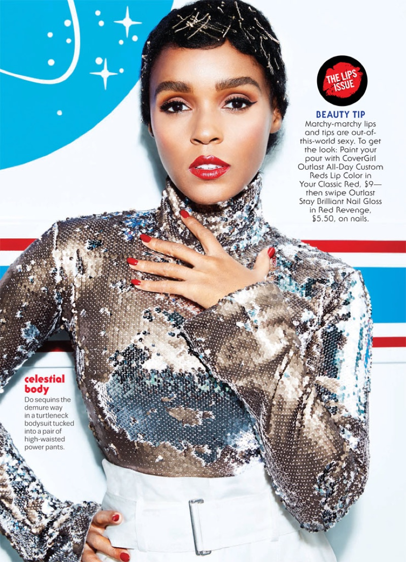 Janelle Monae embraces sequins with Alix bodysuit and DKNY Pure pants