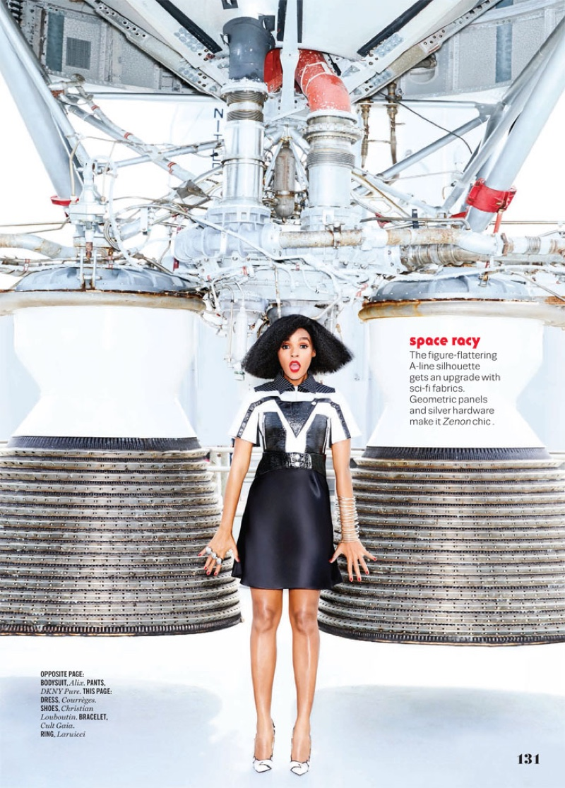 Posing at the NASA Kennedy Space Center, Janelle Monae wears Courreges dress and Christian Louboutin heels