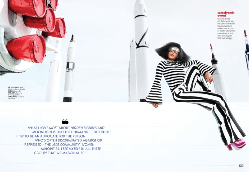 Embracing stripes, Janelle Monae wears Milly top, Alice + Olivia pants and DSquared2 platforms