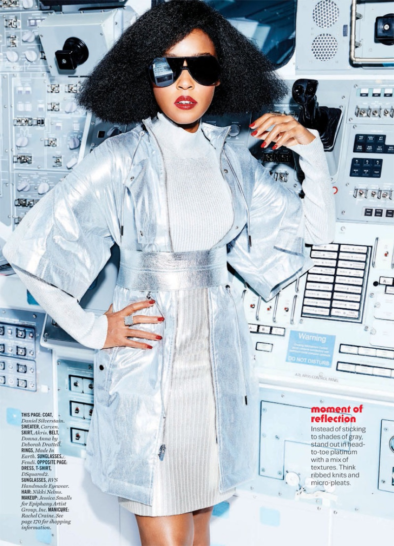 Janelle Monae wears Daniel Silverstain coat, Carven sweater and Akris skirt