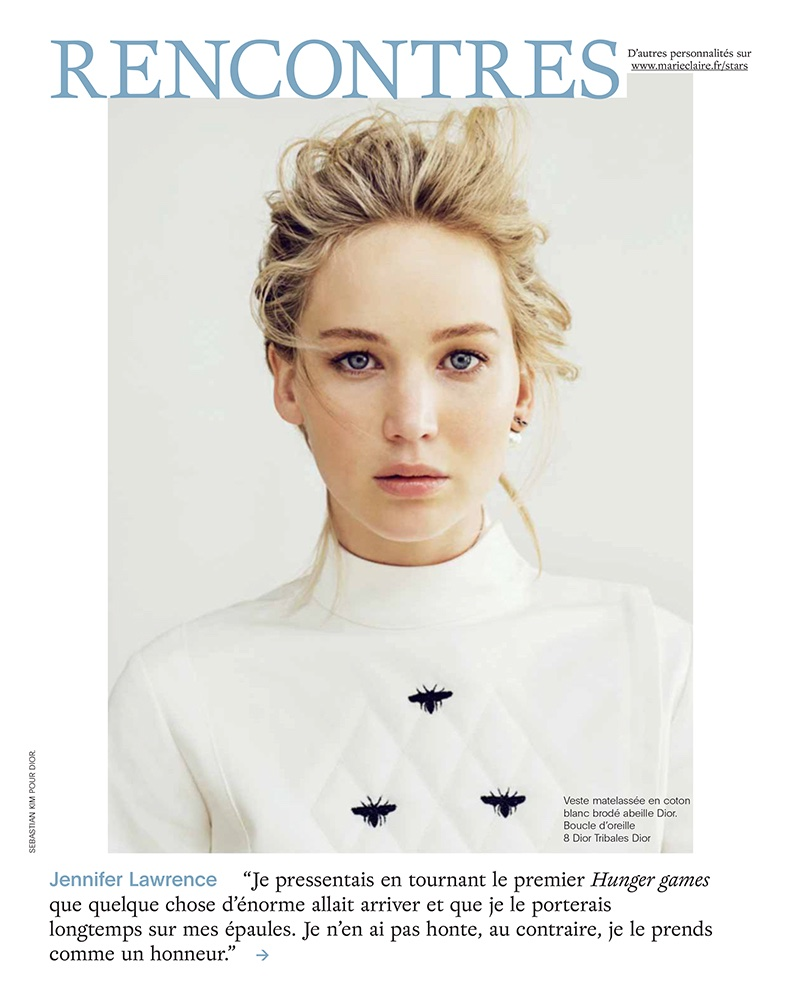 Jennifer Lawrence gets her closeup in Dior jacket