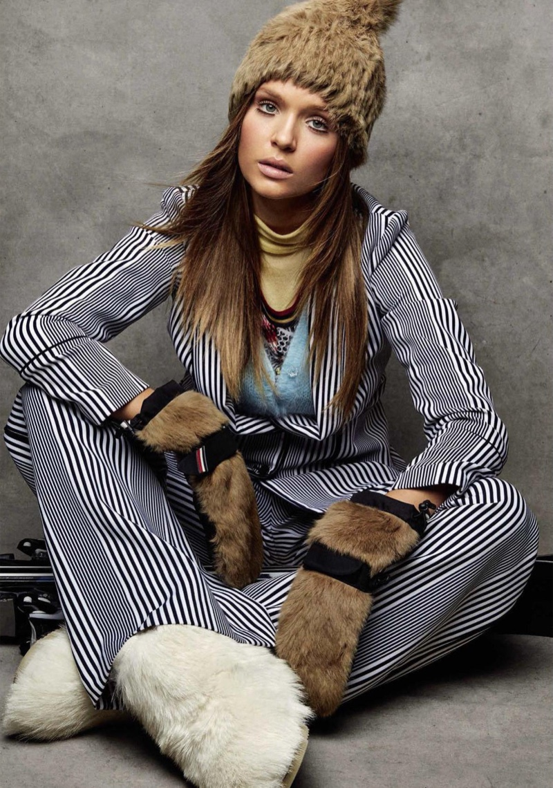 Josephine Skriver suits up in striped MICHAEL Michael Kors blazer and pants