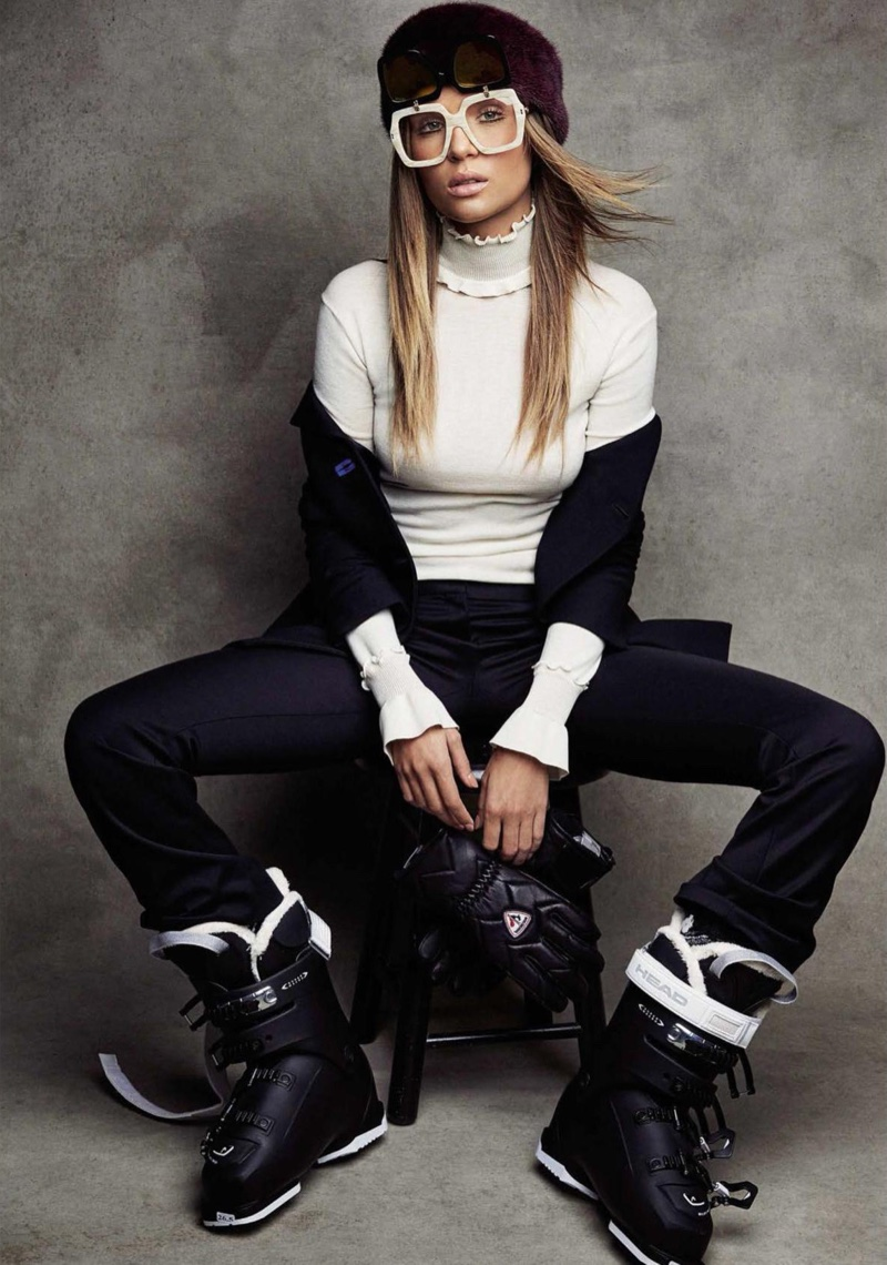 Layering up, Josephine Skriver poses in Versace jacket and pants with Celine high-neck sweater