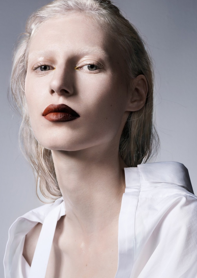 Julia Nobis Models Bold Lipstick Shades for Sunday Times Style