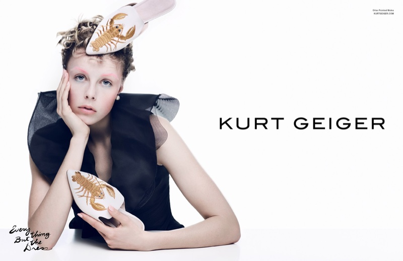 Kurt Geiger features Otter Pointed Mules in spring 2017 advertising campaign
