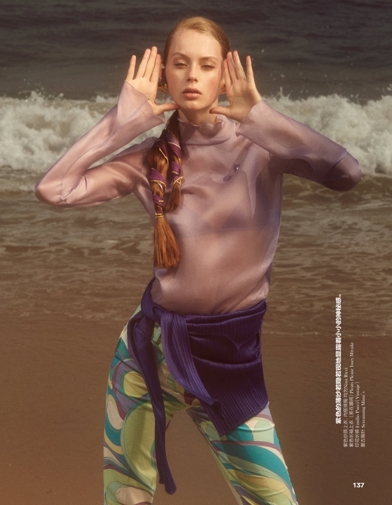 Model Lauren de Graaf wears relaxed style featuring Nina Ricci, Issey Miyake and more at the beach
