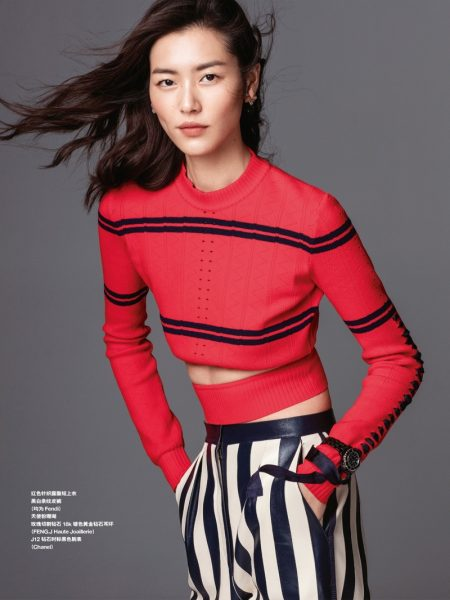 Liu Wen Poses in Casual Chic Looks for Grazia China