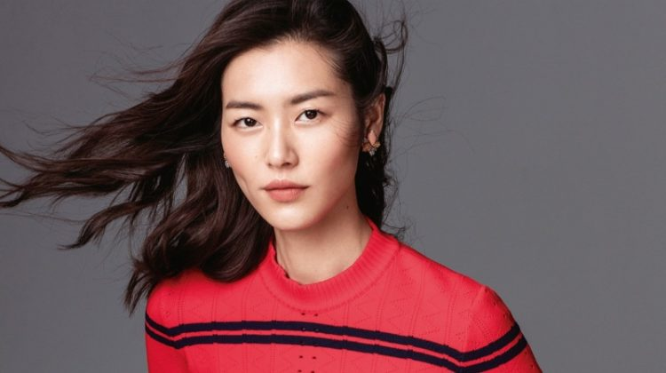 Liu Wen poses in Fendi cropped sweater and striped pants