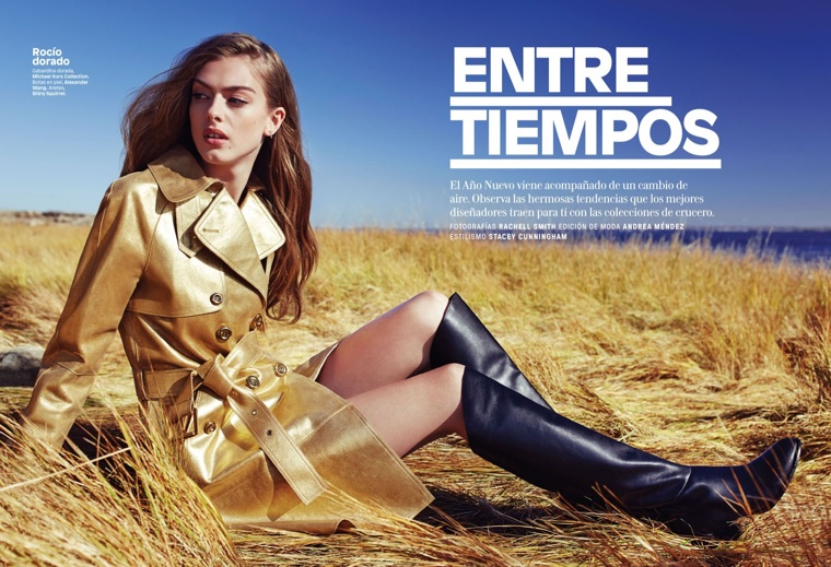 Lone Praesto models Michael Kors Collection gold trench coat with Alexander Wang boots