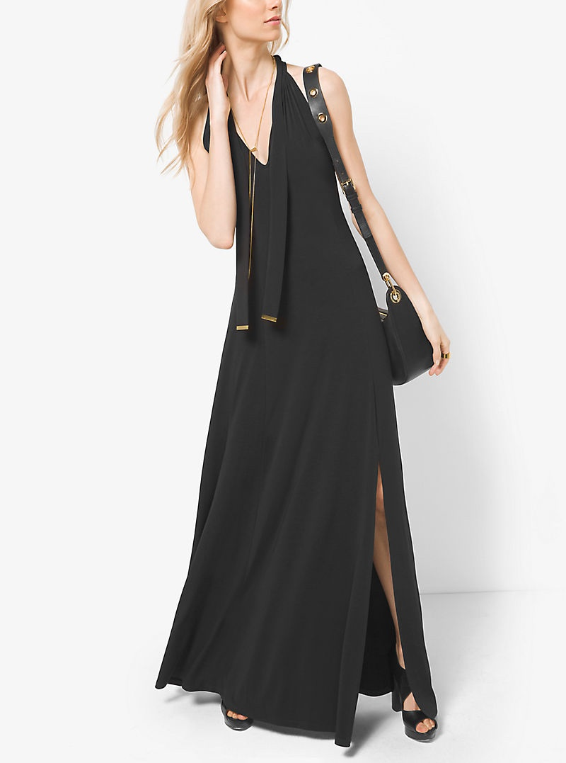 MICHAEL Michael Kors Tie Neck Matte Jersey Maxi Dress