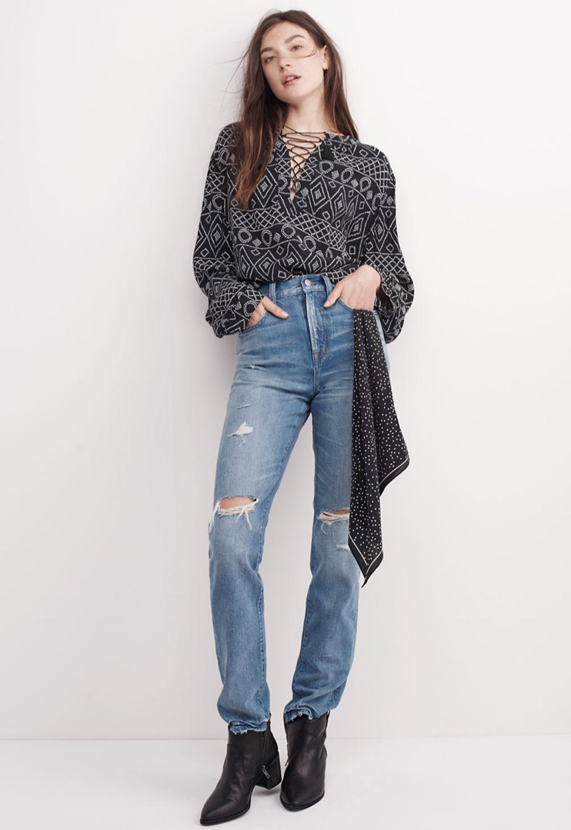 Madewell Lace-Up Peasant Top in Caravan Print, The Perfect Vintage Jean in Chet Wash: Distressed Edition and Silk Bandana in True Black