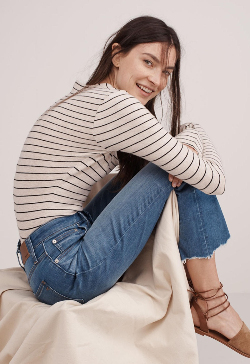 Madewell Song Scoop Bodysuit in Pierre Stripe,  Cali Demi-Boot Jeans: Button-Front Edition and The Rena Lace-Up Sandal in Suede