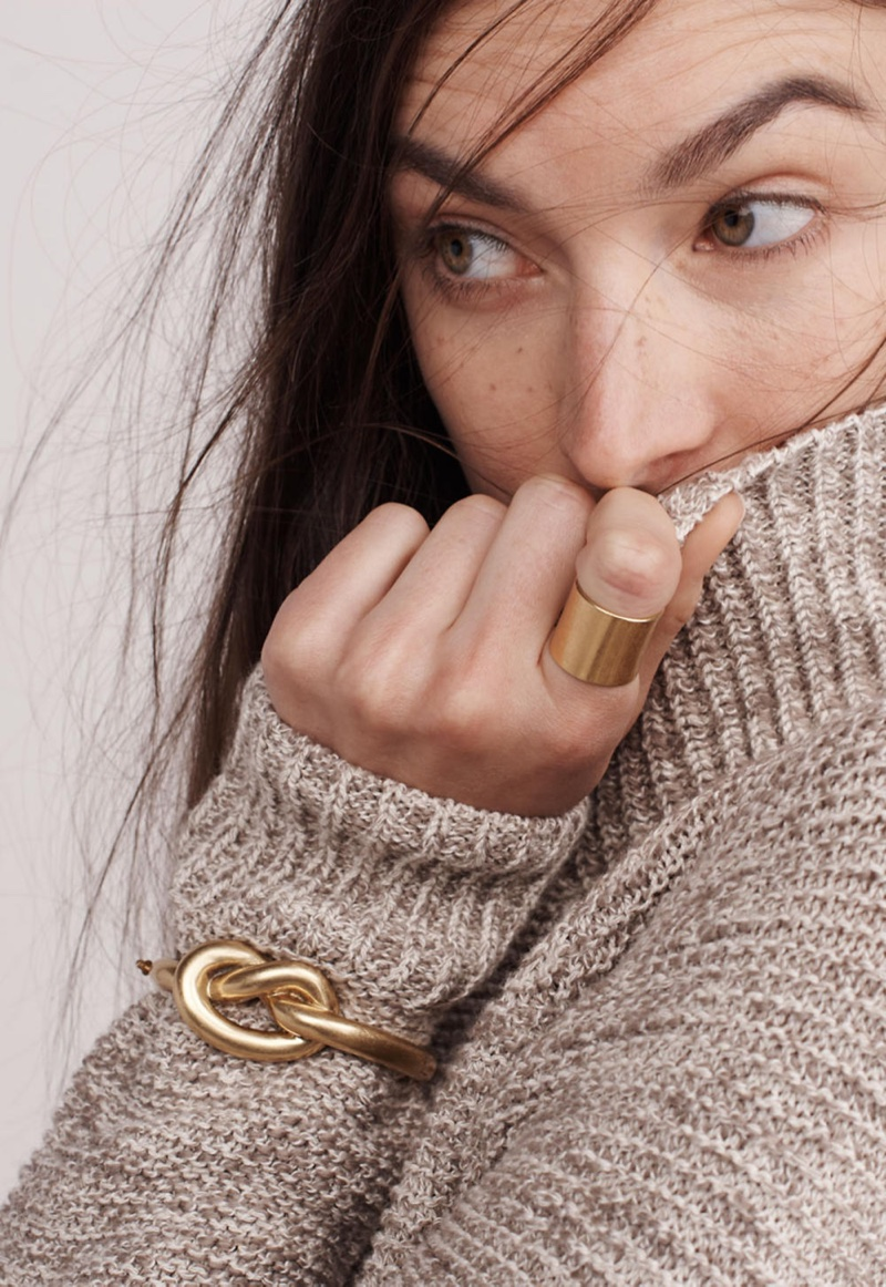 Madewell Raglan Turtleneck Sweater, Knotted Hinge Bracelet and Band Ring