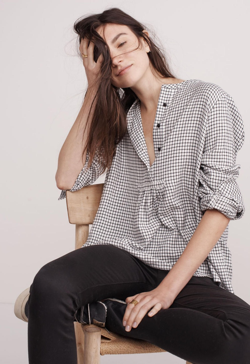 "Madewell Market Popover Shirt in Malone Plaid and 10"" High-Rise Skinny Jeans in Carbondale Wash"