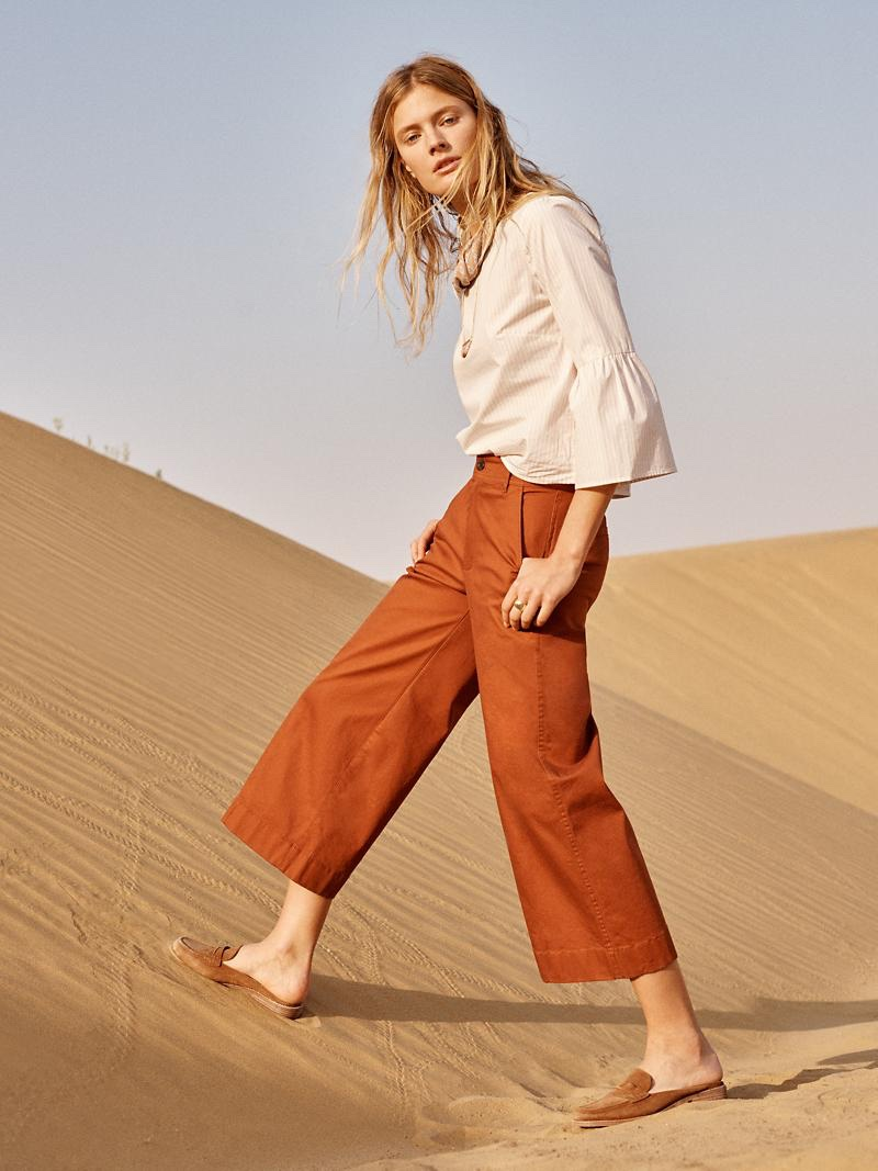 Madewell Striped Bell-Sleeve Top, Langford Wide-Leg Crop Pants: Pintuck Edition and The Elinor Loafer Mule