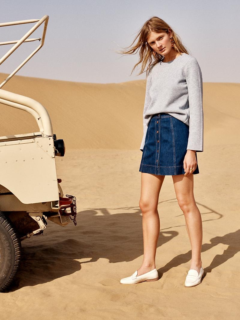 Madewell Laced-Back Pullover Sweater, Metropolis Snap Jean Skirt and The Elinor Loafer in Vintage Canvas